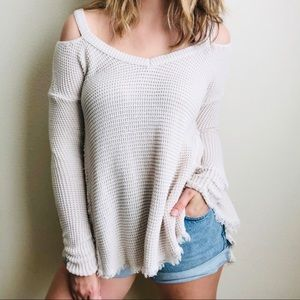 Free People cream cold shoulder sweater - MEDIUM